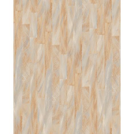 Papel pintado con rayas Profhome VD219142-DI papel pintado vinílico estampado en caliente tejido non tejido gofrado con dibujo gráfico sutilmente satinado beige marfil-claro 5,33 m2