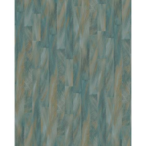 Papel pintado con rayas Profhome VD219144-DI papel pintado vinílico estampado en caliente tejido non tejido gofrado con dibujo gráfico sutilmente satinado azul blanco-crema bronce 5,33 m2