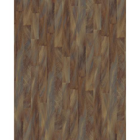 Papel pintado con rayas Profhome VD219145-DI papel pintado vinílico estampado en caliente tejido non tejido gofrado con dibujo gráfico sutilmente satinado marrón bronce plata 5,33 m2