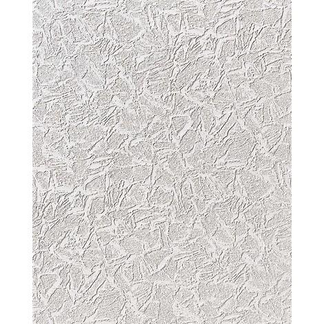 Papel pintado con textura de yeso estuco en vinílico EDEM 238-50 espumado blanco con brillo 15 m