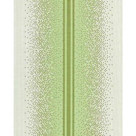 Papel pintado de diseño mosaico EDEM 1023-15 tipo píxel rayas glitter decente lavable blanco verde