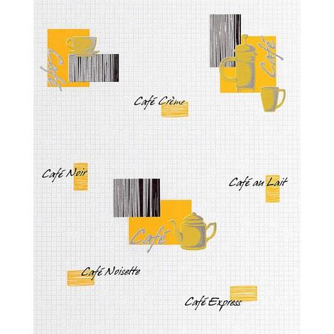 Papel pintado de diseño motivos café bar y mosaico EDEM 062-21 azulejitos blanco crema amarillo verde negro plata