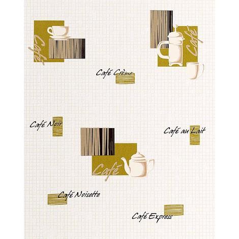 Papel pintado de diseño motivos café bar y mosaico EDEM 062-25 azulejitos blanco crema aceituna negro dorado