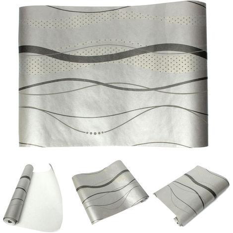 Papel pintado de pared de rayas curvas 3D Tela no tejida Decoración de dormitorio 0.53x10m LAVENTE