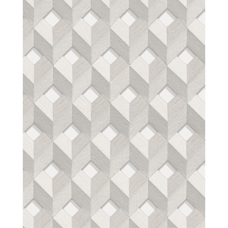 Papel pintado efecto 3D Profhome DE120131-DI papel pintado vinílico estampado en caliente tejido non tejido gofrado con dibujo rombos brillante blanco gris-claro 5,33 m2