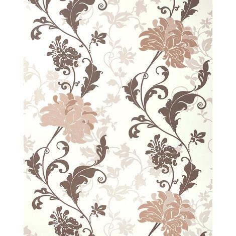 Papel pintado floral EDEM 833-23 diseño precioso flores y hojas marrón beige marrón claro 70 cm