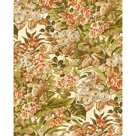 Papel pintado floral Profhome BA220021-DI papel pintado vinílico estampado en caliente tejido non tejido gofrado con dibujo floral mate beige verde marrón naranja 5,33 m2