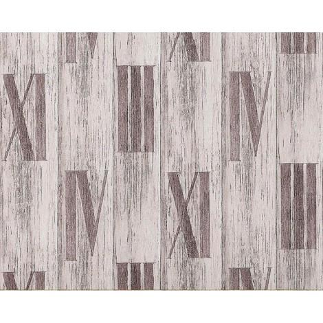 Papel pintado gofrado de lujo en relieve madera EDEM 945-24 de roble antiguo y números romanos en gris pálido 10,65 m2
