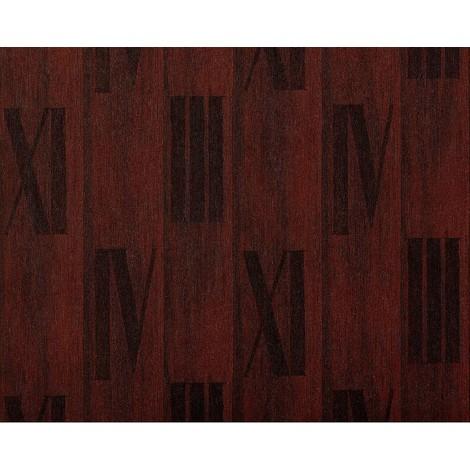 Papel pintado gofrado de lujo en relieve madera EDEM 945-26 de nogal con números romanos en marrón tabaco 10,65 m2