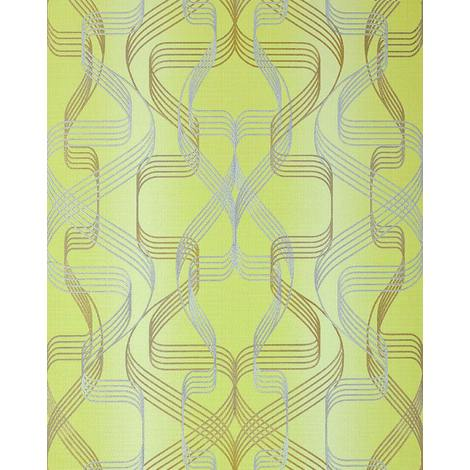Papel pintado gráfico EDEM 507-21 papel pintado vinílico espumado texturado con dibujo abstracto y acentos metálicos verde verde-amarillento oro perlado plata 5,33 m2