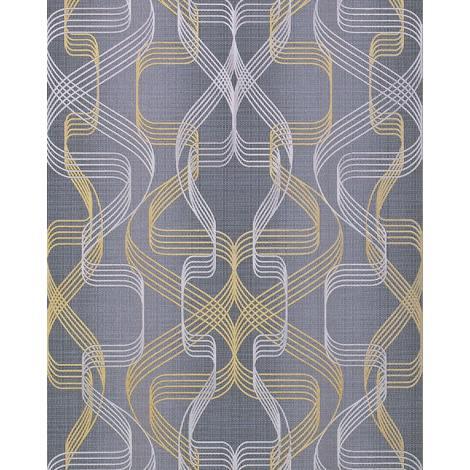 Papel pintado gráfico EDEM 507-26 papel pintado vinílico espumado texturado con dibujo abstracto y acentos metálicos gris gris-basalto oro perlado plata 5,33 m2