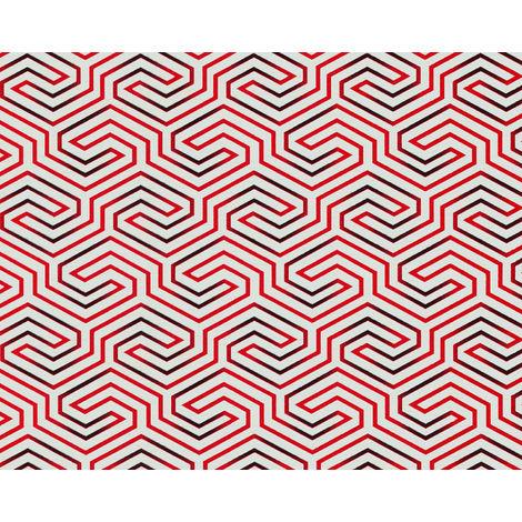 Papel pintado gráfico EDEM 84114BR90 papel pintado no tejido ligeramente texturado con ornamentos brillante blanco rojo-frambuesa negro 10,65 m2