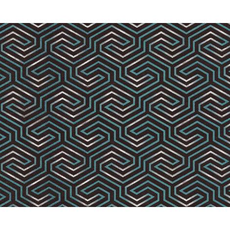 Papel pintado gráfico EDEM 84114BR95 papel pintado no tejido ligeramente texturado con ornamentos y acentos metálicos antracita gris-sombra verde ópalo perlado plata 10,65 m2