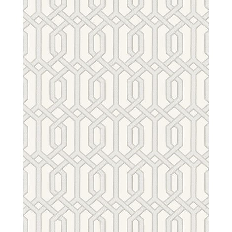 Papel pintado gráfico Profhome BA220011-DI papel pintado vinílico estampado en caliente tejido non tejido gofrado con dibujo gráfico y acentos metálicos blanco blanco-crema plata 5,33 m2