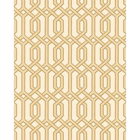 Papel pintado gráfico Profhome BA220012-DI papel pintado vinílico estampado en caliente tejido non tejido gofrado con dibujo gráfico y acentos metálicos beige oro 5,33 m2