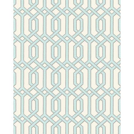 Papel pintado gráfico Profhome BA220013-DI papel pintado vinílico estampado en caliente tejido non tejido gofrado con dibujo gráfico y acentos metálicos marfil turquesa-pastel plata 5,33 m2