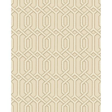 Papel pintado gráfico Profhome BA220014-DI papel pintado vinílico estampado en caliente tejido non tejido gofrado con dibujo gráfico y acentos metálicos beige bronce 5,33 m2