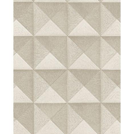 Papel pintado gráfico Profhome BA220062-DI papel pintado vinílico estampado en caliente tejido non tejido gofrado con dibujo gráfico y acentos metálicos marfil 5,33 m2