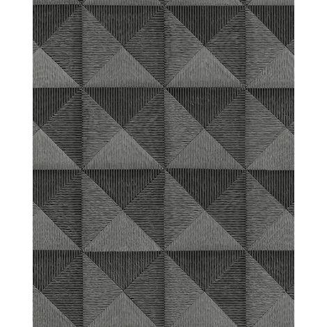 Papel pintado gráfico Profhome BA220065-DI papel pintado vinílico estampado en caliente tejido non tejido gofrado con dibujo gráfico y acentos metálicos antracita negro 5,33 m2