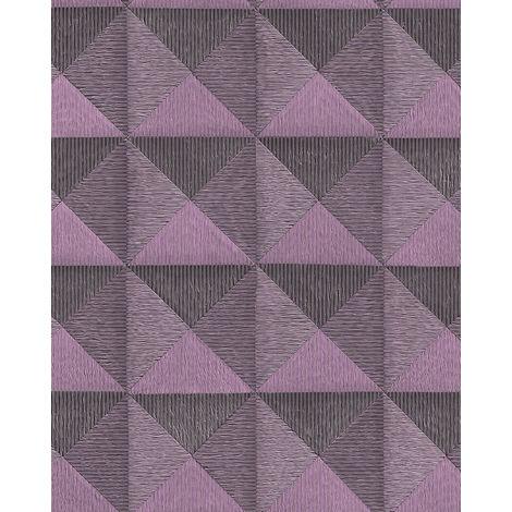 Papel pintado gráfico Profhome BA220066-DI papel pintado vinílico estampado en caliente tejido non tejido gofrado con dibujo gráfico y acentos metálicos violeta 5,33 m2