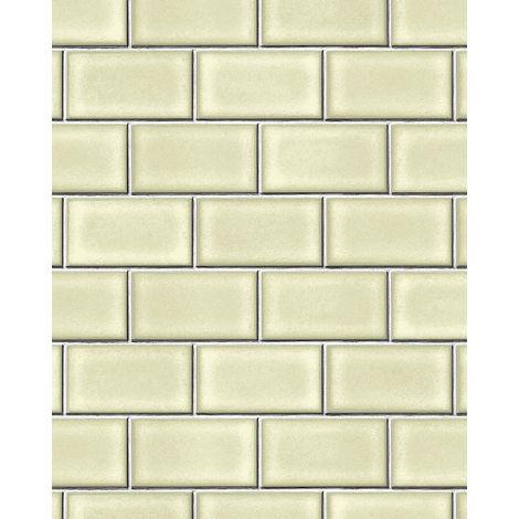 Papel pintado gráfico Profhome BA220103-DI papel pintado vinílico estampado en caliente tejido non tejido gofrado con dibujo gráfico brillante verde gris blanco 5,33 m2