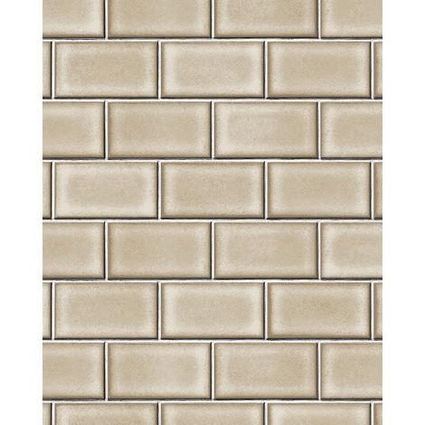 Papel pintado gráfico Profhome BA220104-DI papel pintado vinílico estampado en caliente tejido non tejido gofrado con dibujo gráfico brillante beige beige-agrisado blanco 5,33 m2
