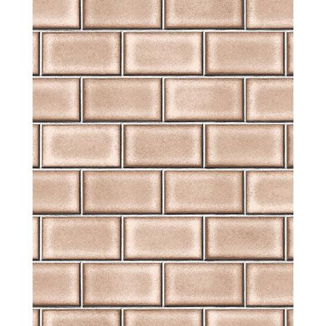 Papel pintado gráfico Profhome BA220105-DI papel pintado vinílico estampado en caliente tejido non tejido gofrado con dibujo gráfico brillante marrón pardo-beige blanco 5,33 m2