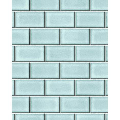 Papel pintado gráfico Profhome BA220106-DI papel pintado vinílico estampado en caliente tejido non tejido gofrado con dibujo gráfico brillante azul turquesa-pastel blanco 5,33 m2