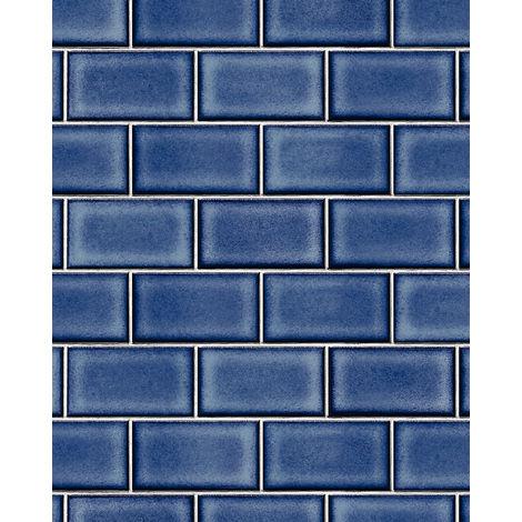 Papel pintado gráfico Profhome BA220107-DI papel pintado vinílico estampado en caliente tejido non tejido gofrado con dibujo gráfico brillante azul blanco 5,33 m2