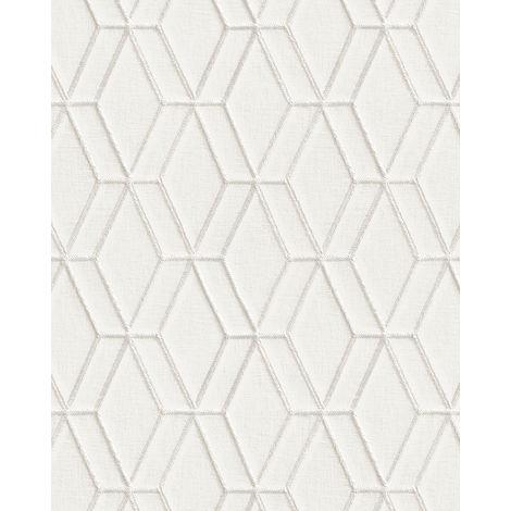 Papel pintado gráfico Profhome DE120061-DI papel pintado vinílico estampado en caliente tejido non tejido gofrado con dibujo rombos brillante blanco plata 5,33 m2