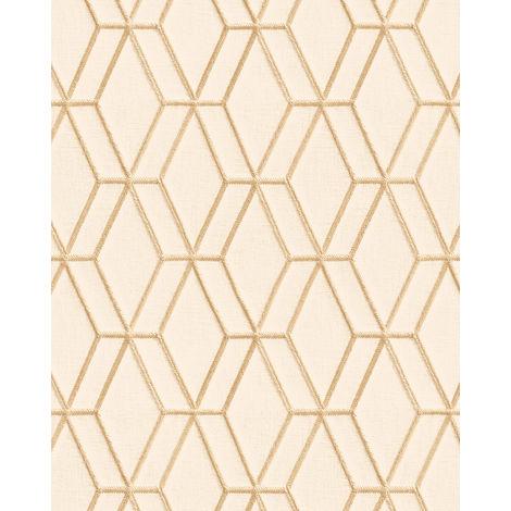 Papel pintado gráfico Profhome DE120062-DI papel pintado vinílico estampado en caliente tejido non tejido gofrado con dibujo rombos brillante crema oro 5,33 m2