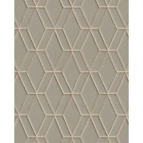 Papel pintado gráfico Profhome DE120064-DI papel pintado vinílico estampado en caliente tejido non tejido gofrado con dibujo rombos brillante gris plata 5,33 m2