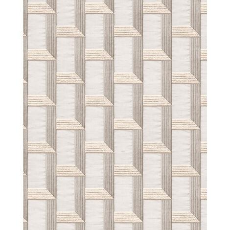 Papel pintado gráfico Profhome DE120072-DI papel pintado vinílico estampado en caliente tejido non tejido gofrado con dibujo gráfico y acentos metálicos blanco gris plata 5,33 m2
