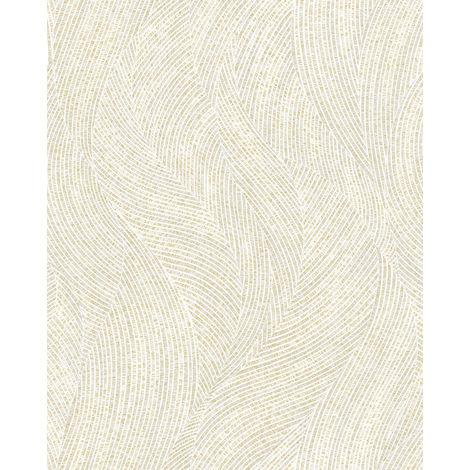 Papel pintado gráfico Profhome VD219167-DI papel pintado vinílico estampado en caliente tejido non tejido gofrado con dibujo gráfico y efecto nacarado blanco plata 5,33 m2