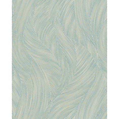 Papel pintado gráfico Profhome VD219169-DI papel pintado vinílico estampado en caliente tejido non tejido gofrado con dibujo gráfico y efecto nacarado azul blanco marfil 5,33 m2