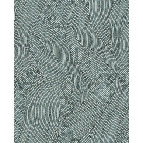 Papel pintado gráfico Profhome VD219170-DI papel pintado vinílico estampado en caliente tejido non tejido gofrado con dibujo gráfico y efecto nacarado azul menta blanco 5,33 m2