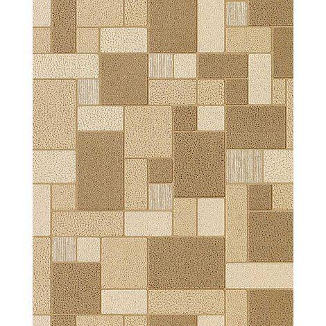 Papel pintado mosaico azulejos aspecto piedra textura EDEM 585-21 decorativa marrón café beige crema
