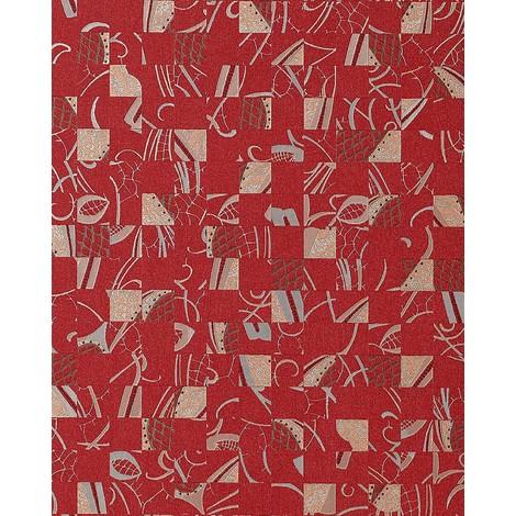 Papel pintado Mystic Arts Collage EDEM 745-25 dibujo abstracto mosaico de arte con relieve color rojo tinto plata platin