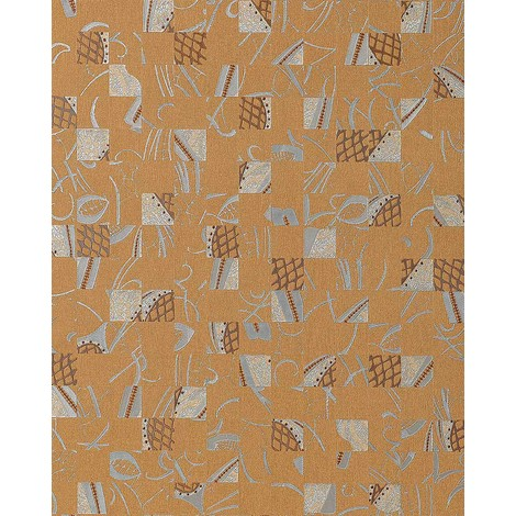 Papel pintado Mystic Arts Collage EDEM 745-26 dibujo abstracto mosaico de arte con relieve color gamuza plata cobre