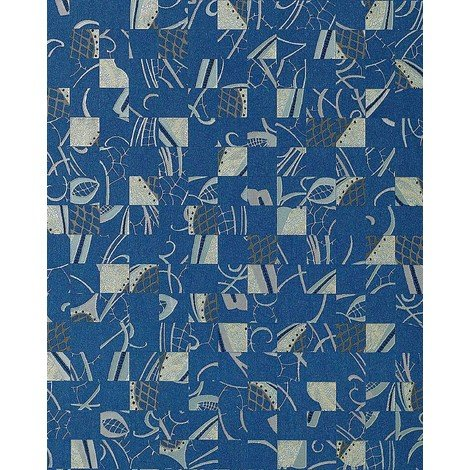 Papel pintado Mystic Arts Collage EDEM 745-27 dibujo abstracto mosaico de arte con relieve color azul plata platino