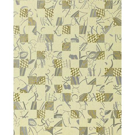 Papel pintado Mystic Arts Collage EDEM 745-28 dibujo abstracto mosaico de arte con relieve color marfil plata oro