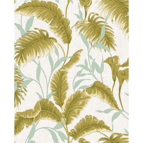 Papel pintado naturaleza Profhome VD219176-DI papel pintado vinílico estampado en caliente tejido non tejido gofrado con dibujo floral brillante verde blanco-crema menta 5,33 m2