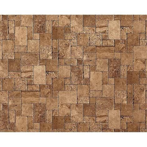 Papel pintado no tejido cubos de piedra mosaico EDEM 957-23 de piedra apariencia de piedra natural marrón-lava 10,65 qm