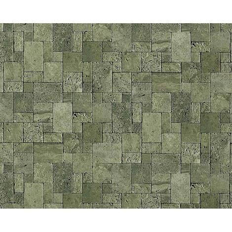 Papel pintado no tejido cubos de piedra mosaico EDEM 957-28 de piedra apariencia de piedra natural gris verde 10,65 qm