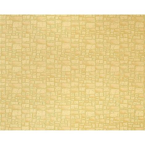 Papel pintado no tejido imitación piedra con textura de lujo y efecto EDEM 922-21 muro amarillo soleado arena 10,65 m2