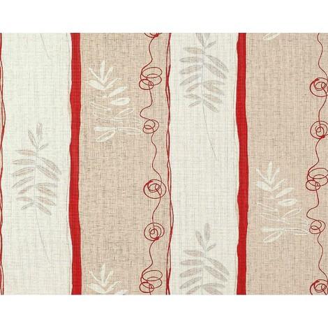 Papel pintado no tejido XXL diseño rayas anchas y dibujo floral EDEM 685-94 hojas marrón beige crema rojo 10,65 m2