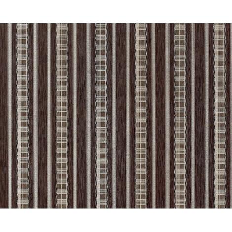 Papel pintado no tejido XXL EDEM 640-94 de aspecto cortina a rayas color chocolate marrón bronce plata 10,65 m2