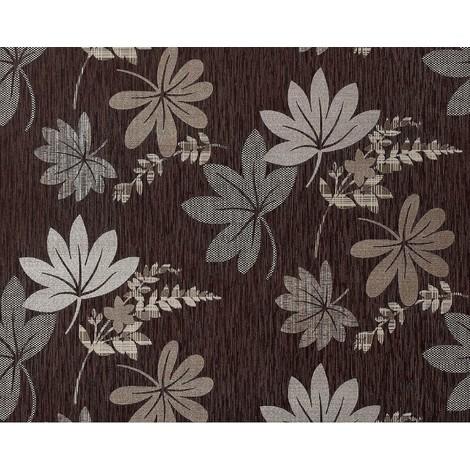 Papel pintado no tejido XXL EDEM 641-94 diseño cortina aspecto tela dibujo floral chocolate marrón bronce plata 10,65 m2