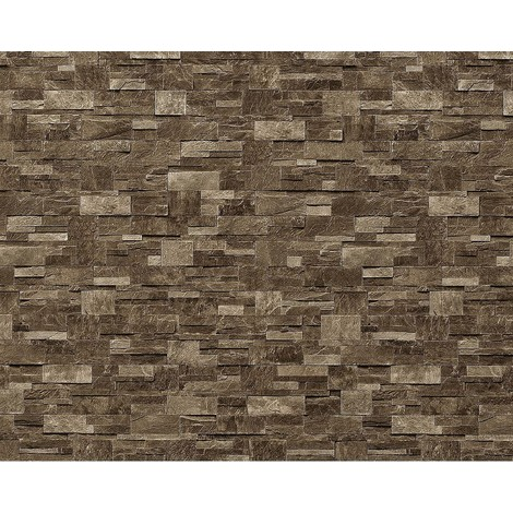 Papel pintado no tejido XXL EDEM 918-35 con relieve aspecto piedra natural piedra de cantera marrón gris 10,65 qm