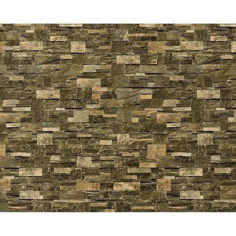 Papel pintado no tejido XXL EDEM 918-38 con relieve aspecto piedra natural piedra de cantera marrón verde 10,65 qm